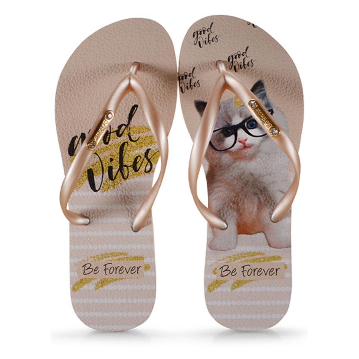 Chinelo Feminino Rafitthy 110.01702 Cat Good Vibes Dourado