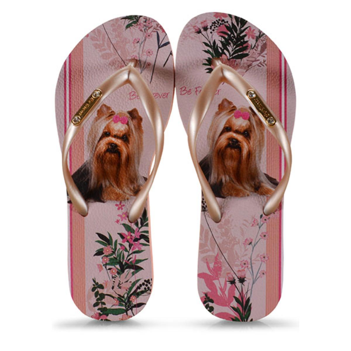Chinelo Feminino Rafitthy 110.01702 York Blossom Stripes Nude/dourado