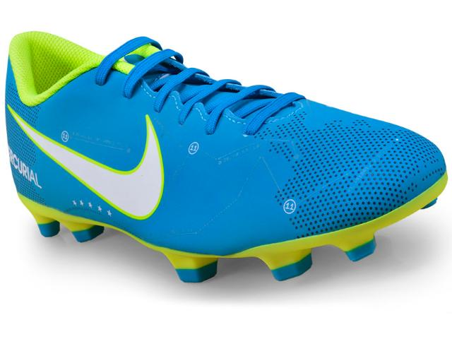 Chuteira Masculina Nike 921511-400 Mercurial Vortex Neymar Iii Njr fg Azul/limão