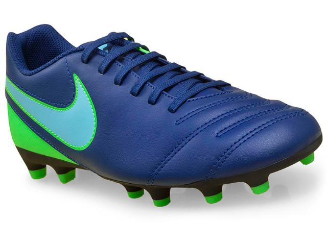 Chuteira Masculina Nike 819233-443 Tiempo Rio Iii Firm Ground  Azul/verde