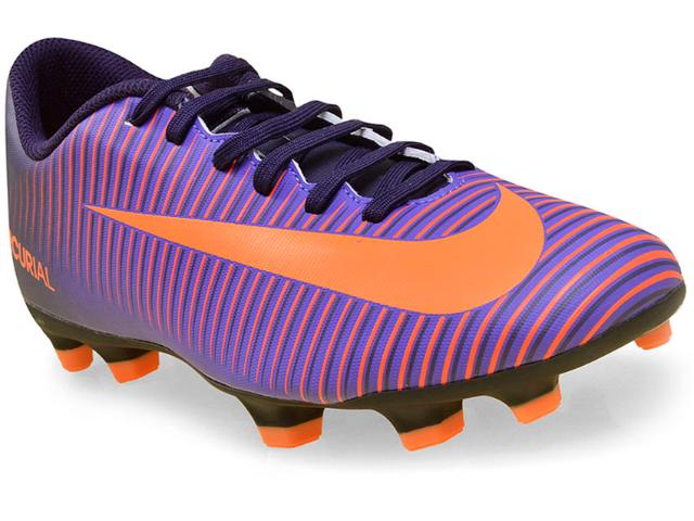 Chuteira Masculina Nike 831969-585 Mercurial Vortex Iii  Roxo/laranja