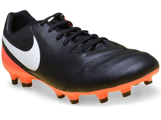 Chuteira Masculina Nike 819213-018 Tiempo Genio Leather ii  Preto/laranja