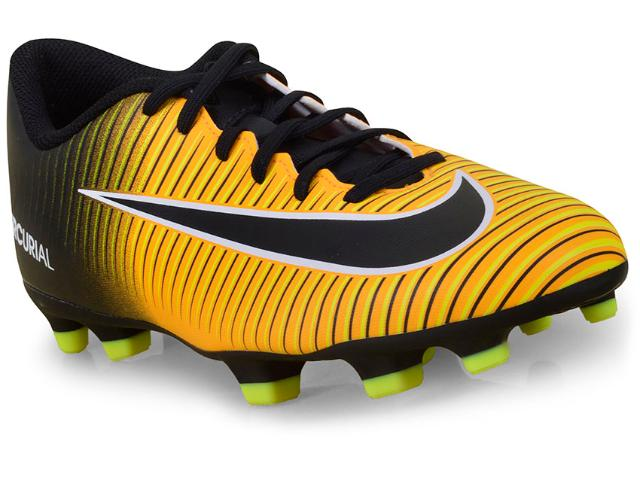 Chuteira Masculina Nike 831969-801 Mercurial Vortex Iii fg Laranja/preto