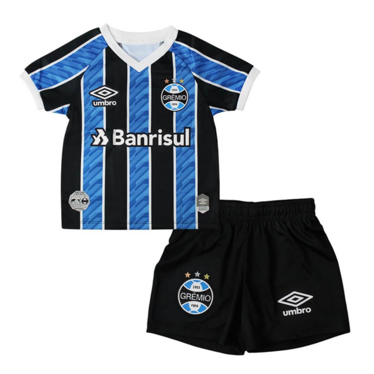 Camiseta/ Bermuda Uni Infantil Grêmio 3g270094 Kit Infantil Of.1 2020 Tricolor