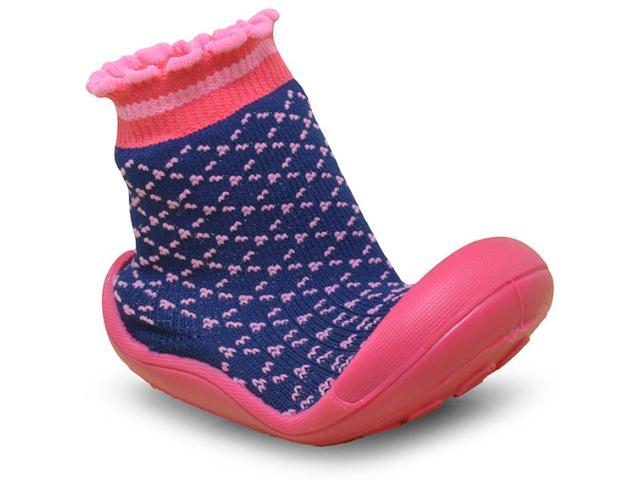 Meia C/sola Fem Infantil Klin 829.110 Marinho/pink