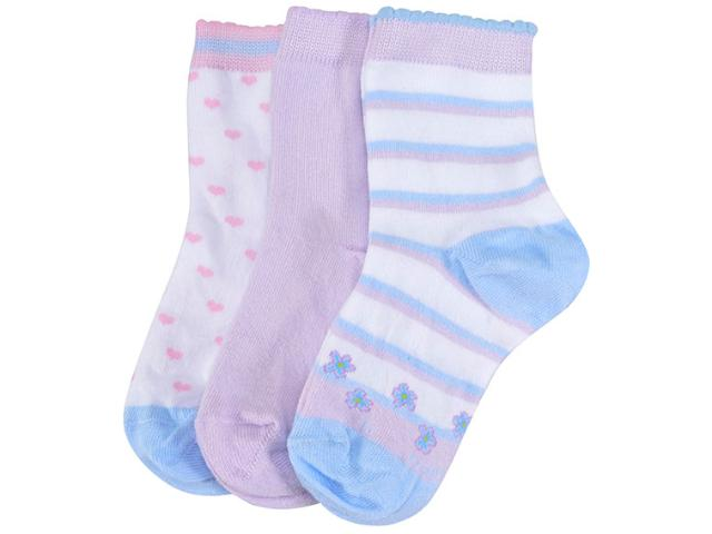 Meia Fem Infantil Lupo 2678 089 0929 Kit C/3 Branco Color/lilas
