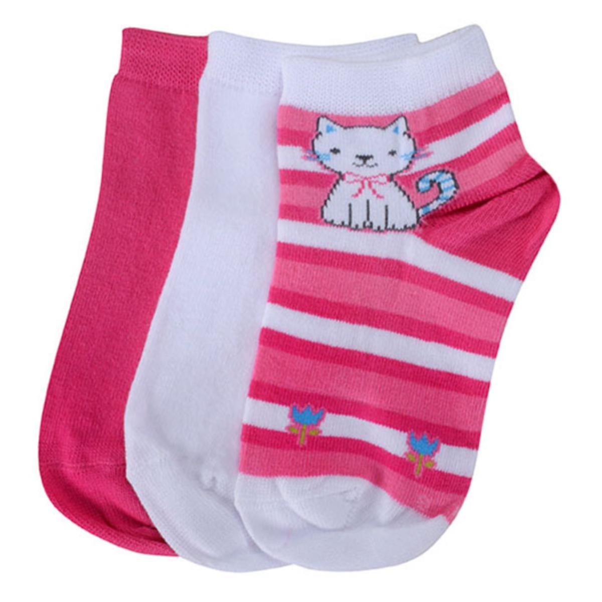Meia Fem Infantil Lupo 02678 089 0941 Kit C/3 Pink/branco