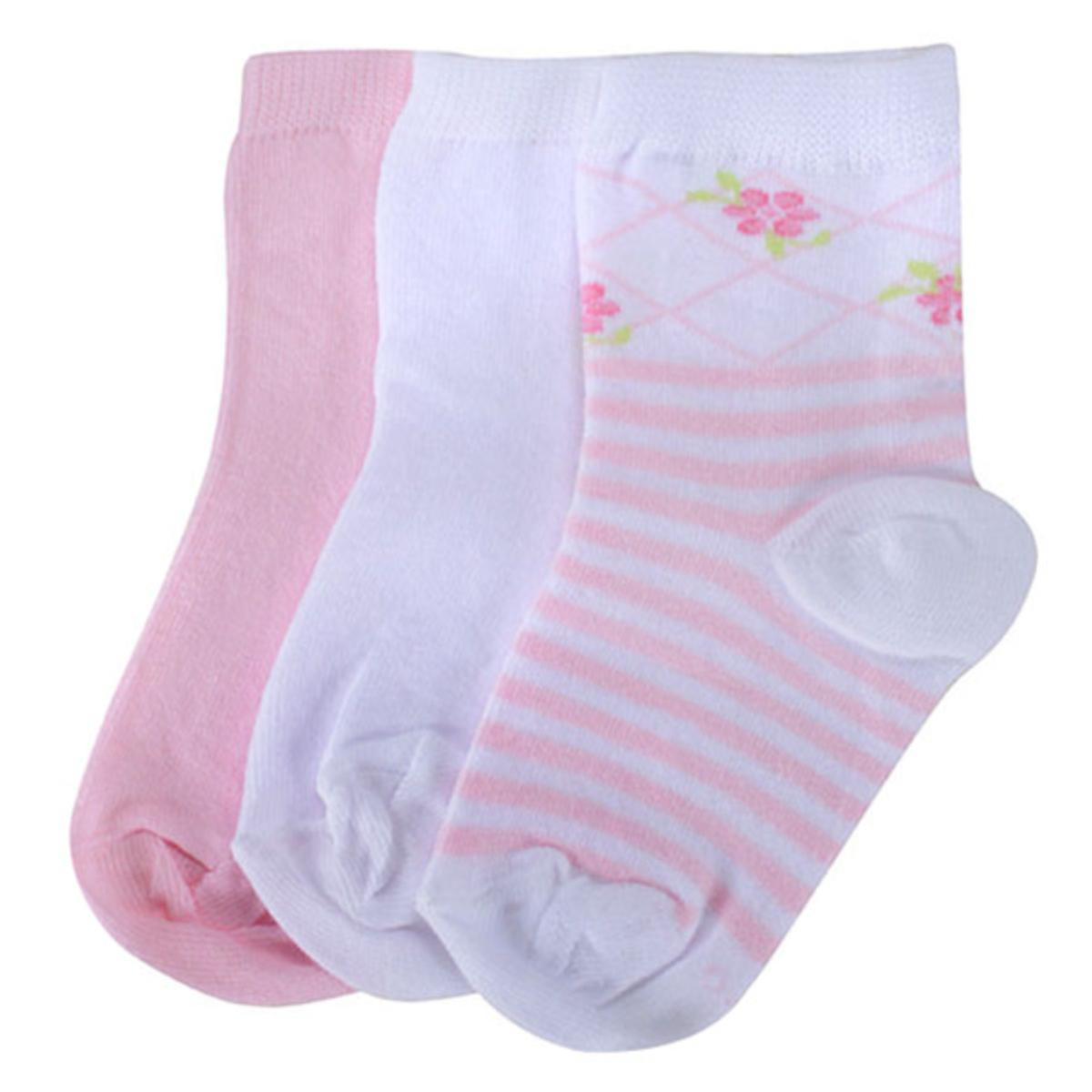 Meia Fem Infantil Lupo 02678 089 0936 Kit C/3 Rosa/branco
