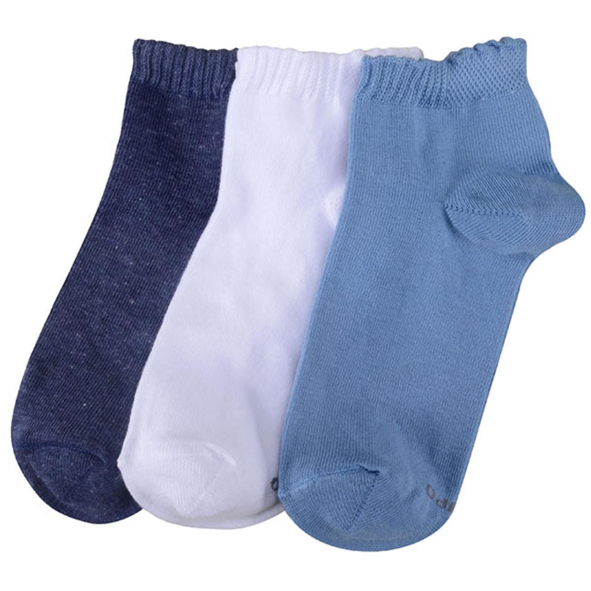 Meia Feminina Lupo 4535 089 0980 Kit C/3 Branco/azul/marinho