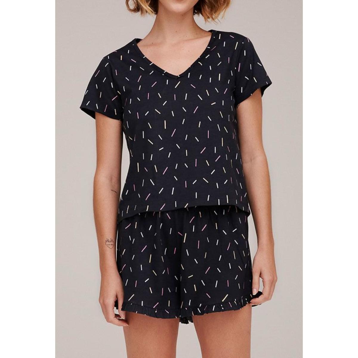 Pijama Feminina Hering 7byp 2aen  Preto Estampado