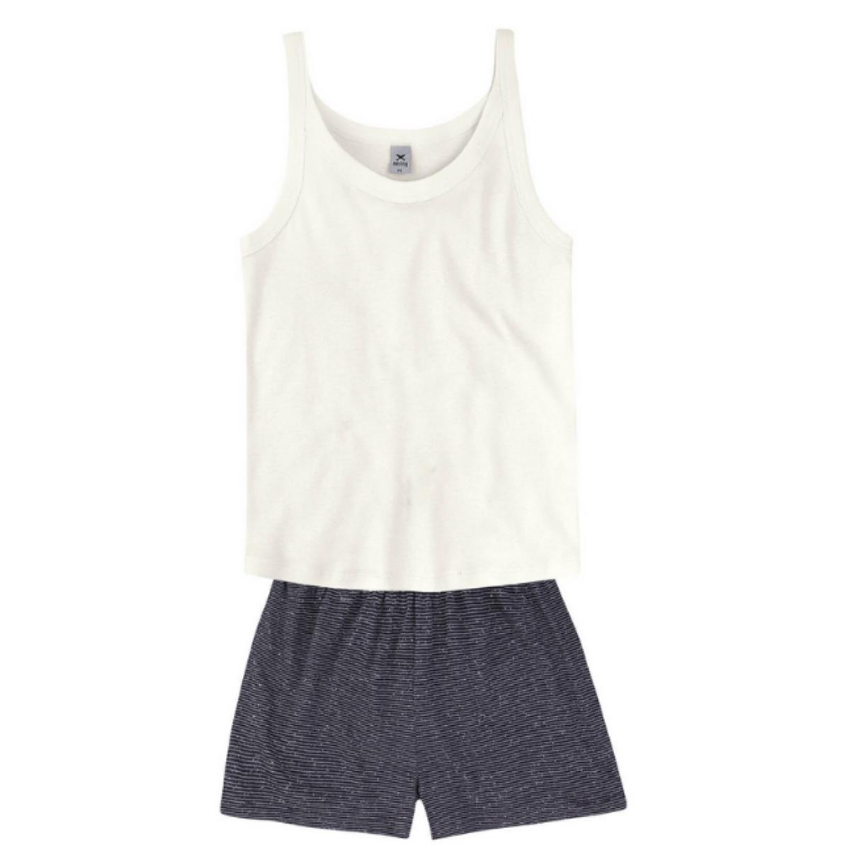 Pijama Feminina Hering 7btz Nmcen Off White/preto