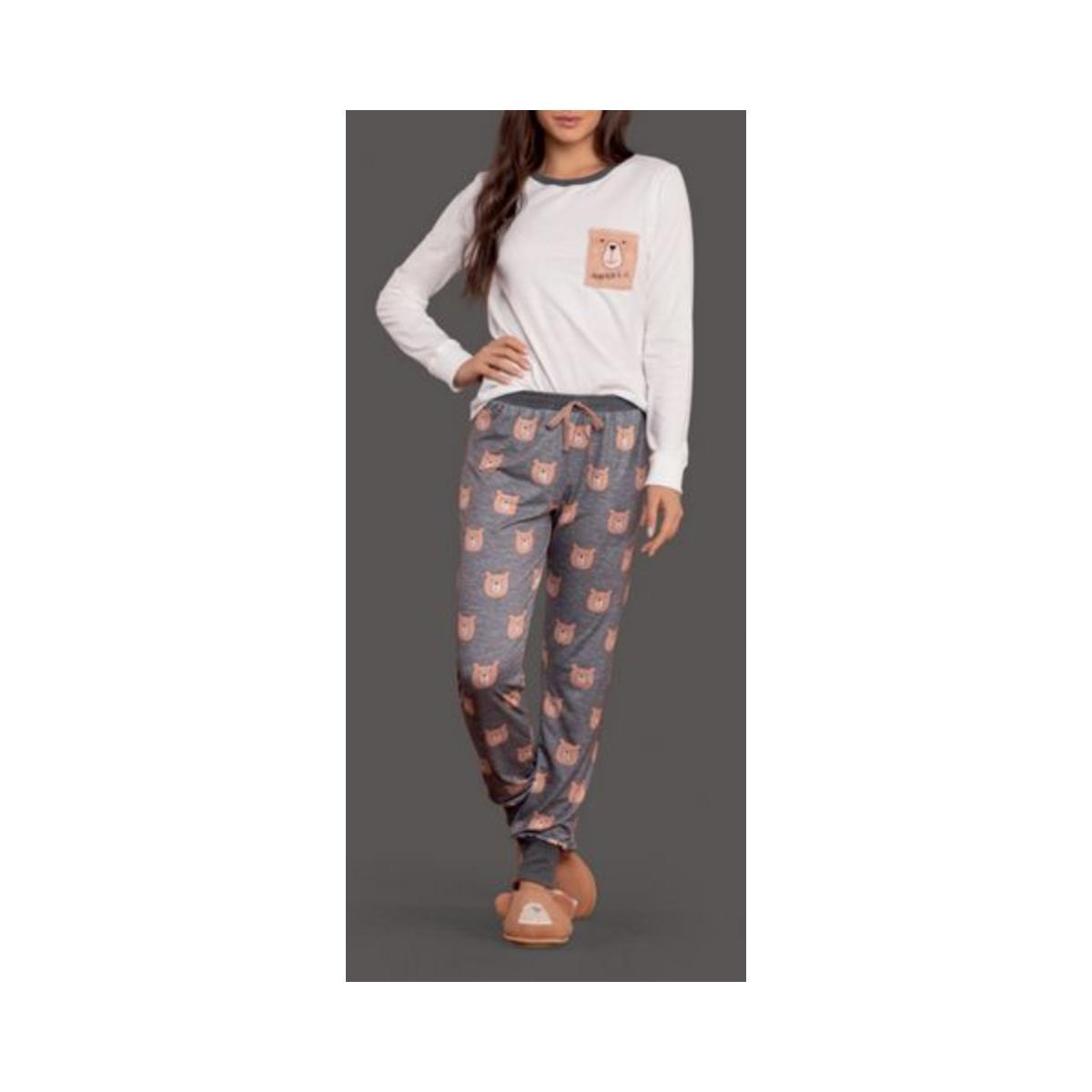 Pijama Feminina Lua Lua 120175 Off White/cinza