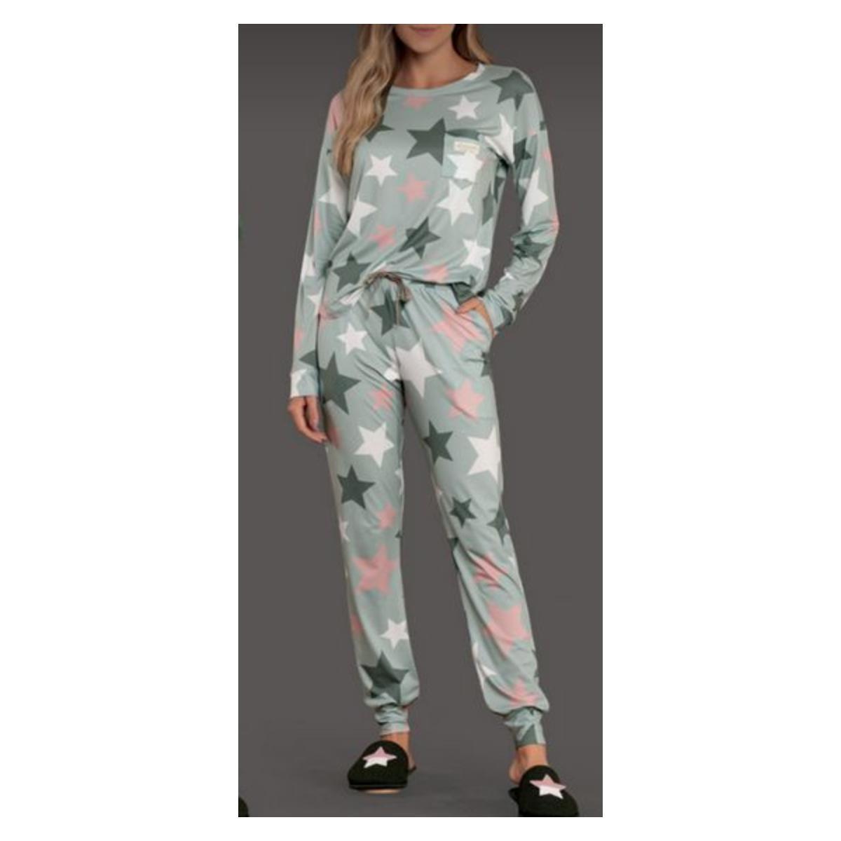 Pijama Feminina Lua Lua 480175 Verde Estampado