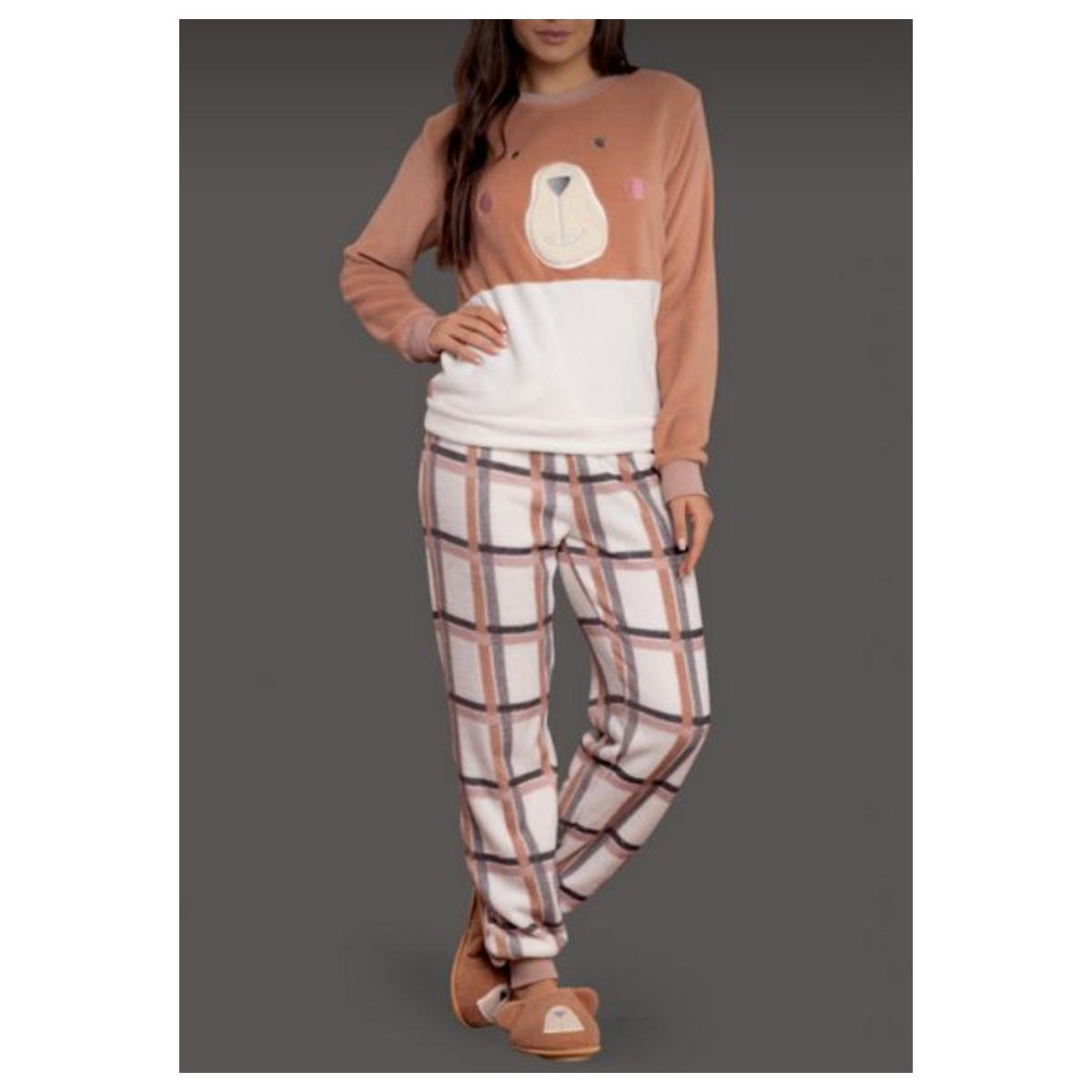 Pijama Feminina Lua Lua 120275 Marrom/off White