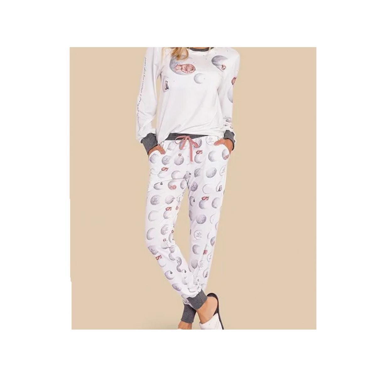 Pijama Feminina Lua Lua 420175 Branco/mescla