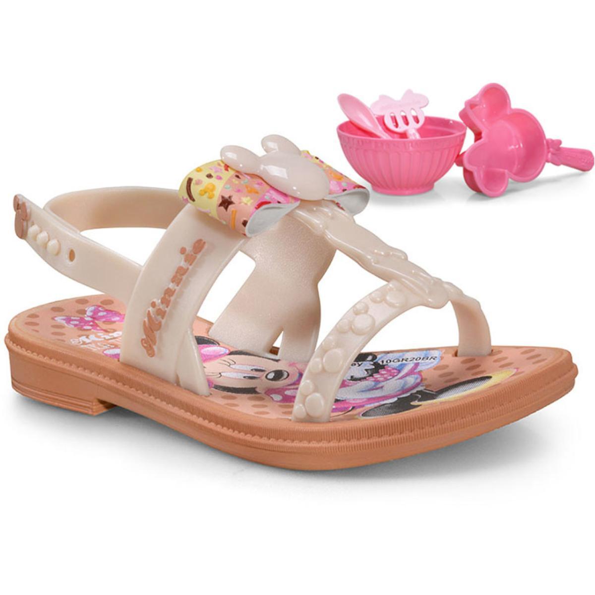 Sandália Fem Infantil Grendene 22417 20808 Minnie Little Rosa/bege