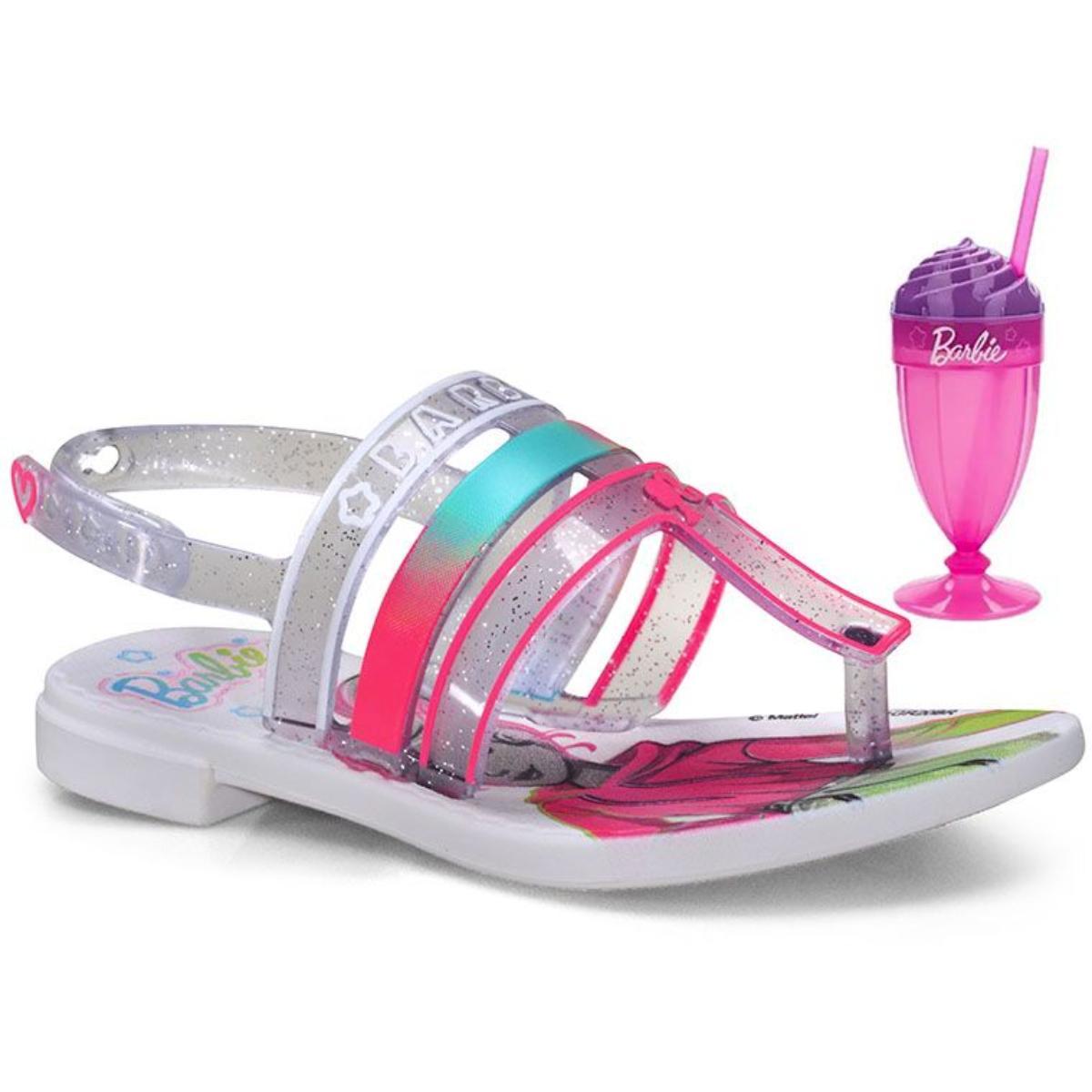 Sandália Fem Infantil Grendene 22460 21784 Milkshake Branco/vidro/rosa