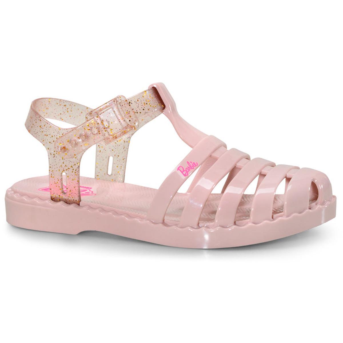 Sandália Feminina Grendene 22459 53911 Barbie Duo Rosa Claro/rosa Gliter