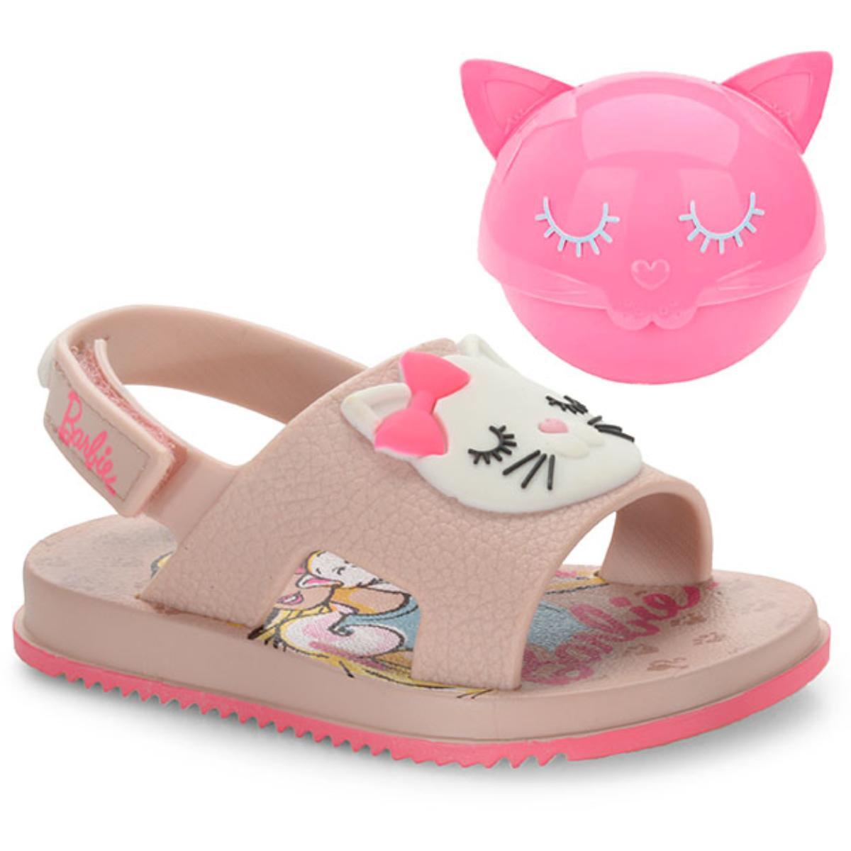 Sandália Feminina Grendene 22150 21819 Barbie Fashion Cat Rosa/branco