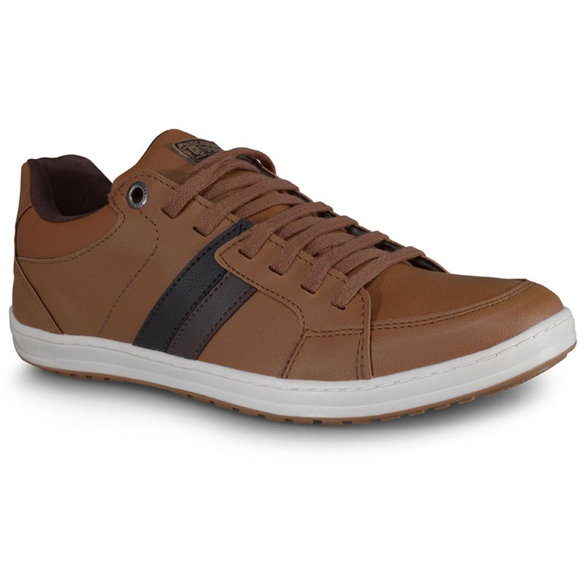 Sapatênis Masculino Ped Shoes 14008 Camel/café Kit Cinto+meia