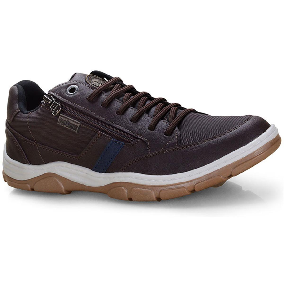 Sapatênis Masculino Ped Shoes 17503-b Kit c/ Relogio Café/marinho