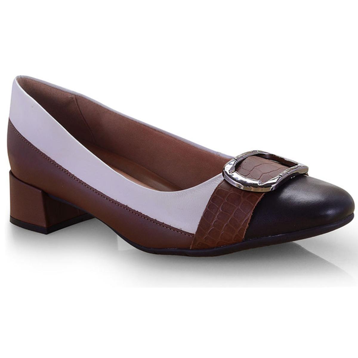 Sapato Feminino Comfortflex 19-95303 Preto/tan