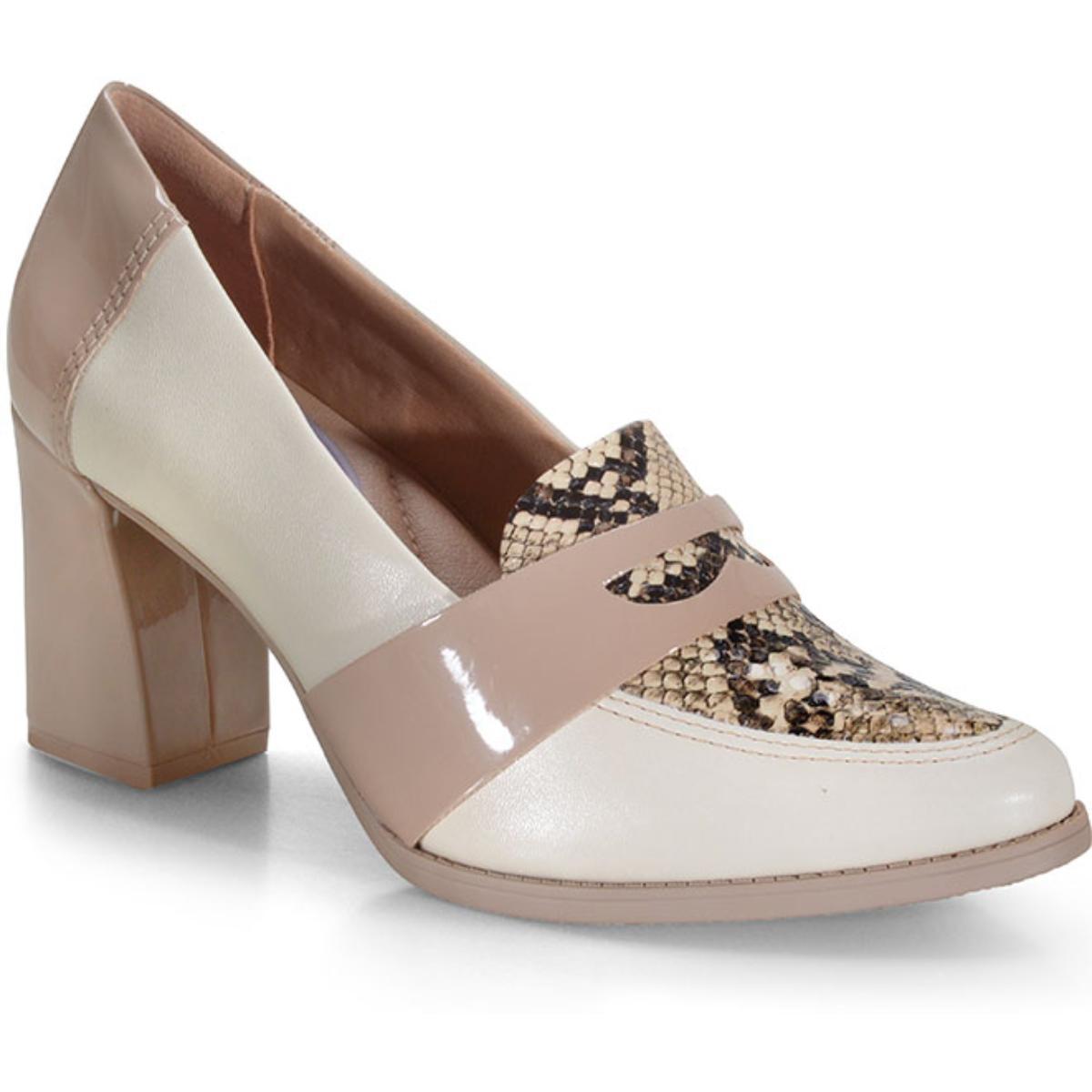 Sapato Feminino Comfortflex 20-78304 Off White/avelã