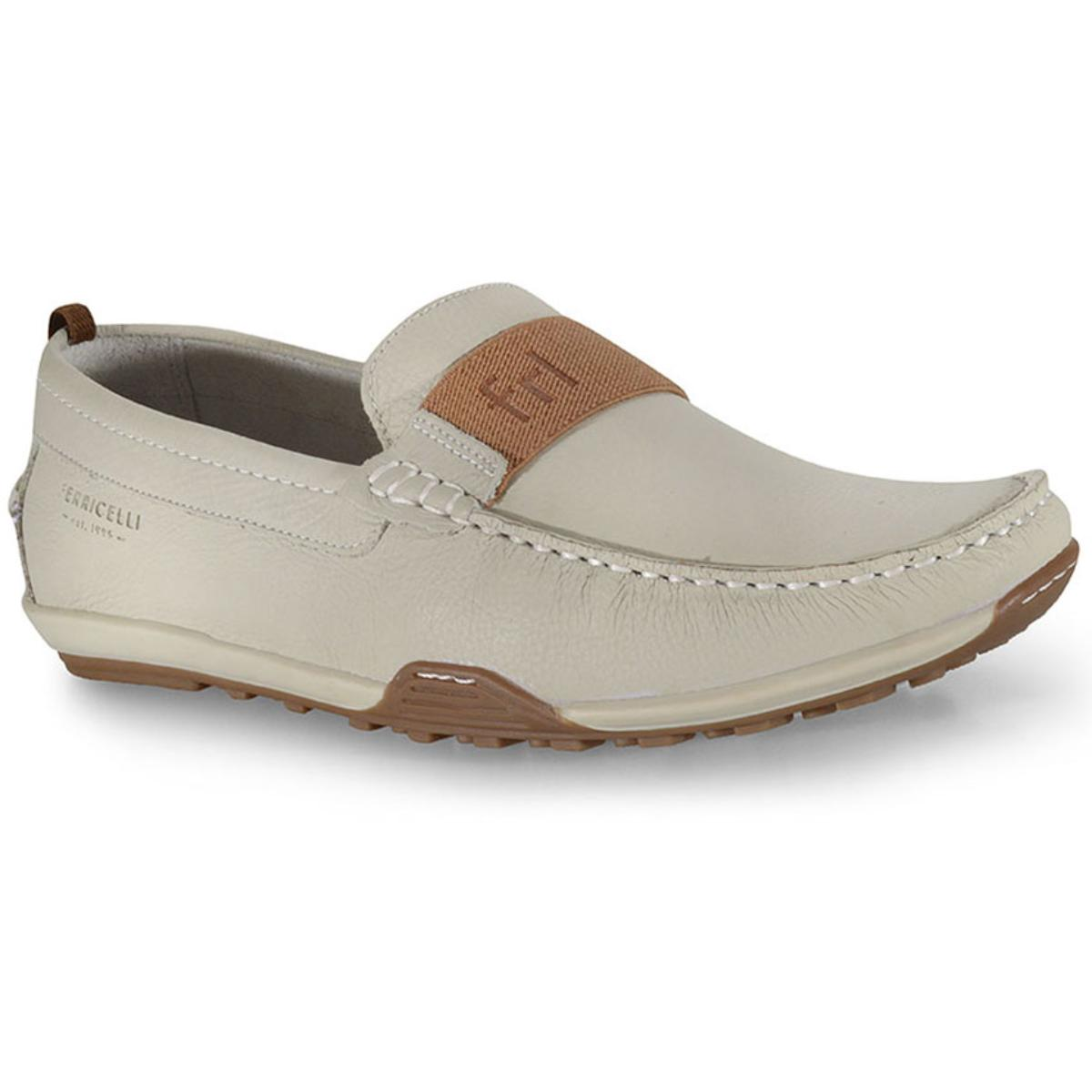 Sapato Masculino Ferricelli Mca54800 Off White/castanho