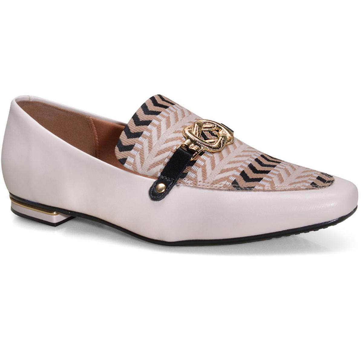 Sapato Feminino Vizzano 1345112 Creme/multi Bege/preto