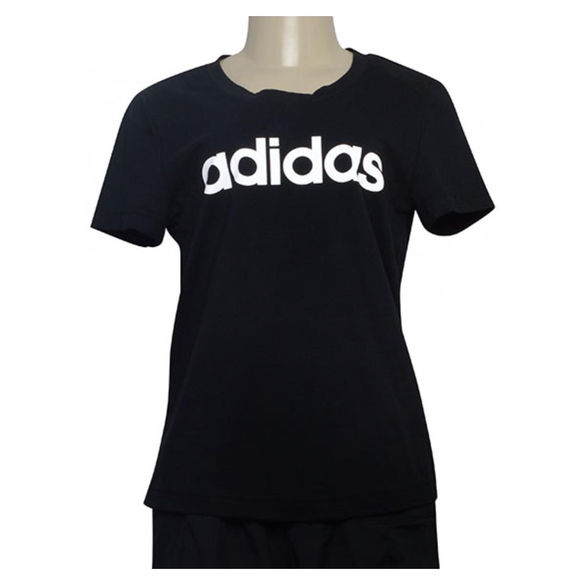 T-shirt Feminino Adidas Dp2361 Preto/branco