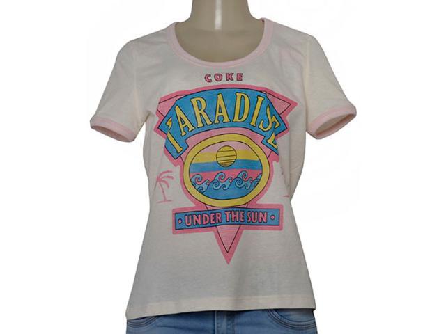 T-shirt Feminino Coca-cola Clothing 343201959 Off White/rosa