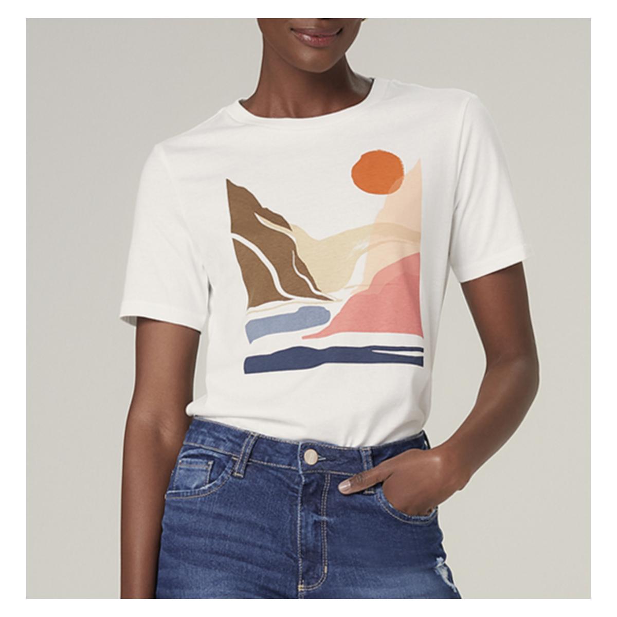 T-shirt Feminino Dzarm 6rz3 Nmcen Off White