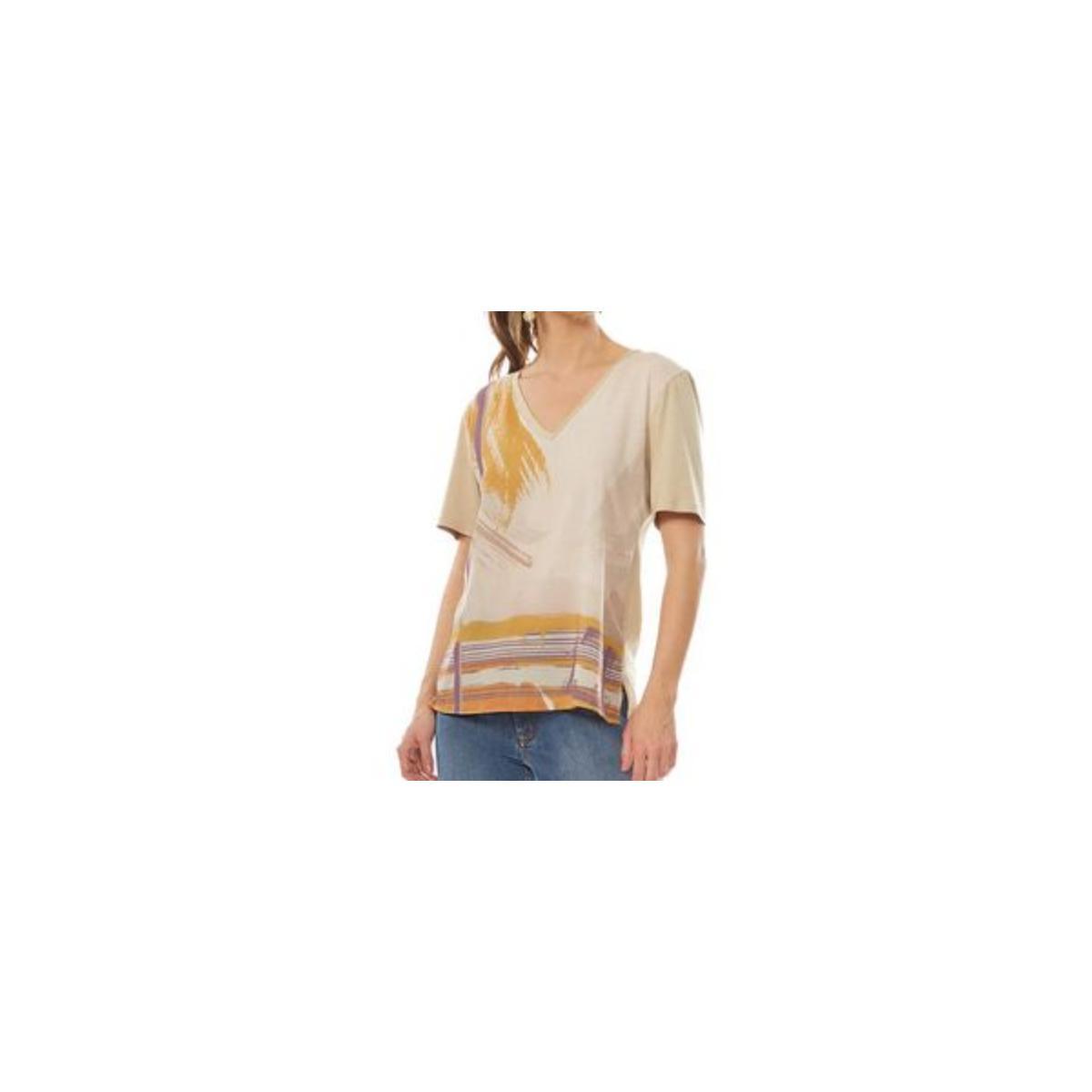T-shirt Feminino Maria Valentina 12000106147 Areia