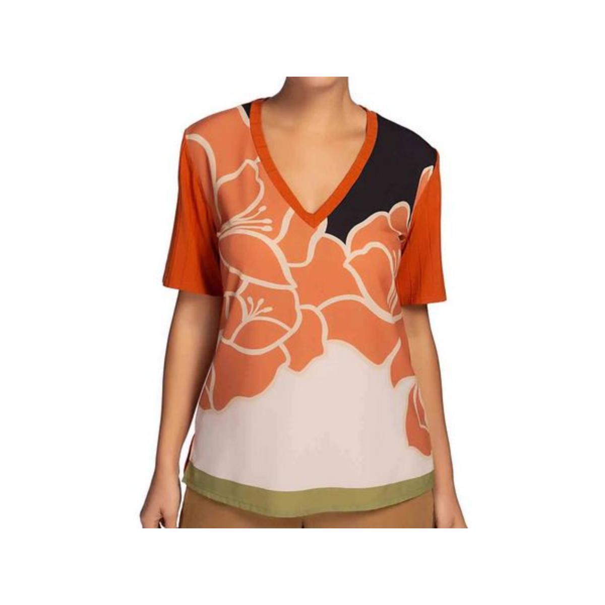T-shirt Feminino Maria Valentina 12000106611 Terracota