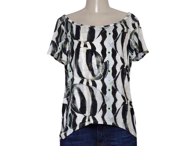 T-shirt Feminino Triton 341401041 Off White Estampado Preto