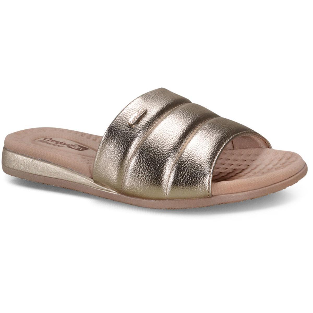 Tamanco Feminino Comfortflex 20-44402 Nude/ouro