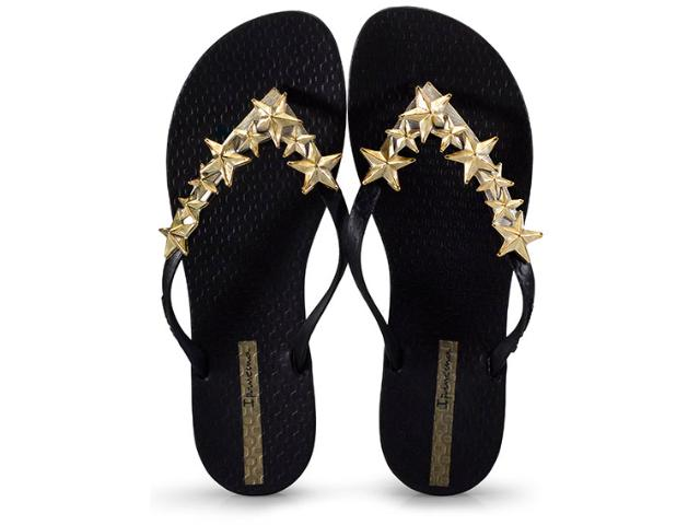 Tamanco Feminino Grendene 26205 Ipanema Wave Stars Preto/dourado