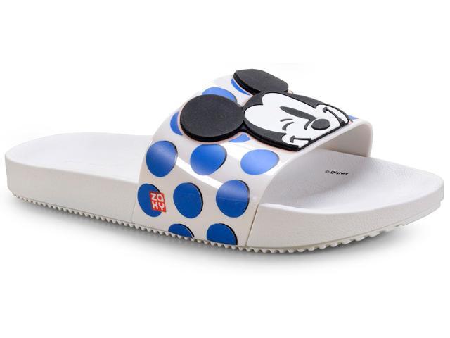 Tamanco Feminino Grendene 17977 90902 Zaxy Pop Mickey Slide Branco Poa