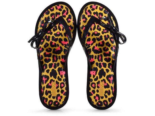 Tamanco Feminino Melissa 32651 Flip Flop Animal Preto/amarelo