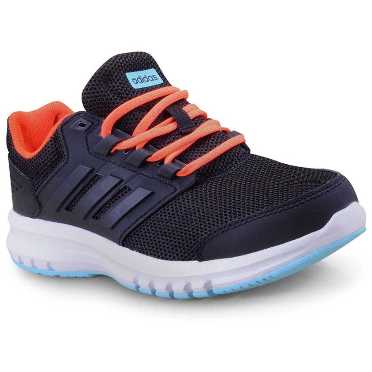 Tênis Feminino Adidas B75656 Galaxy 4k Preto/laranja