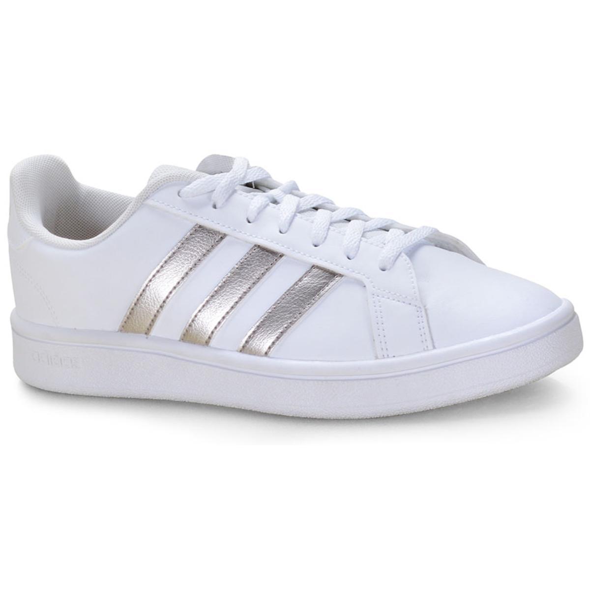 Tênis Feminino Adidas Ee7874 Grand Court Base w Branco/prata