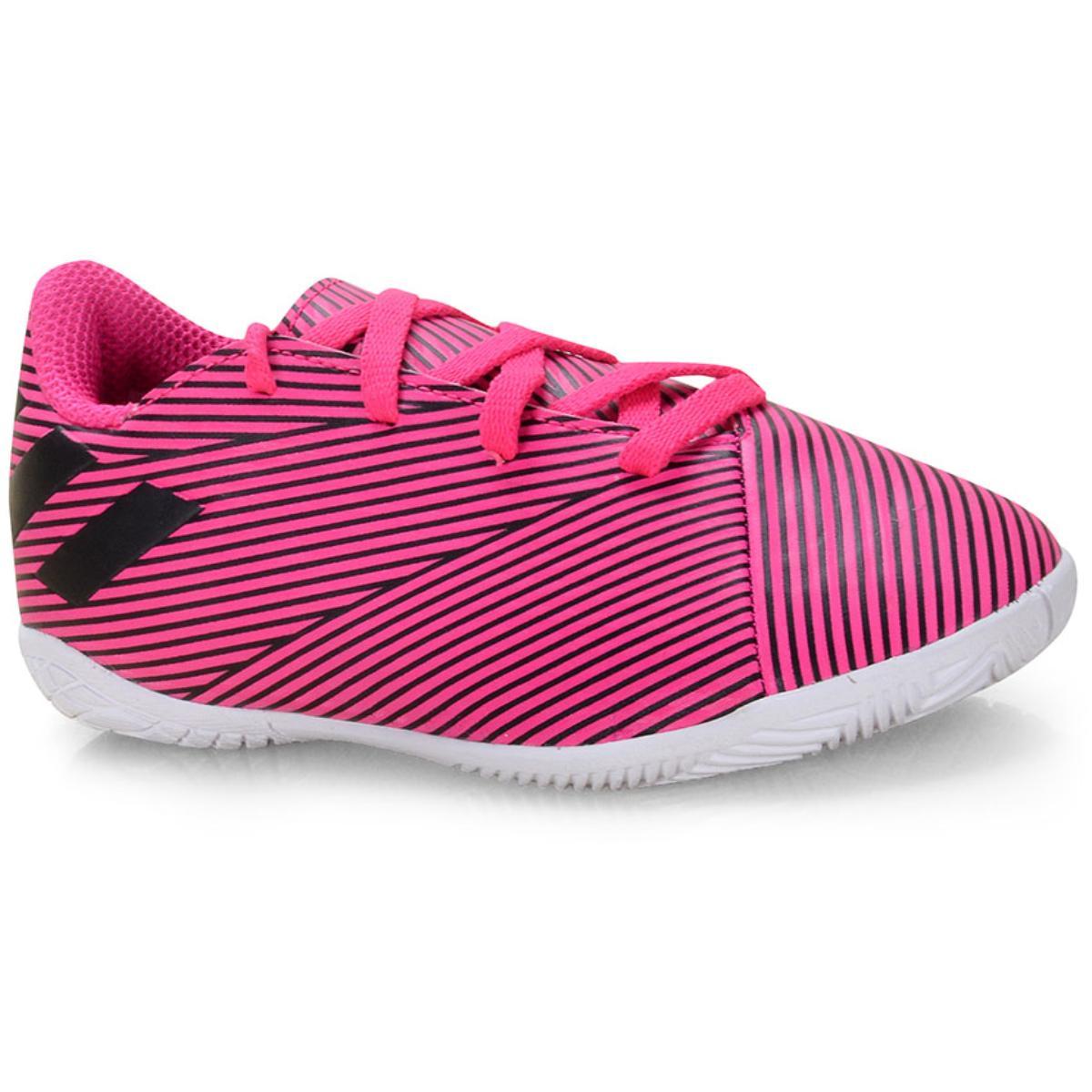 Tênis Masc Infantil Adidas F99939 Nemeziz 19 4 in jr Pink/preto/branco