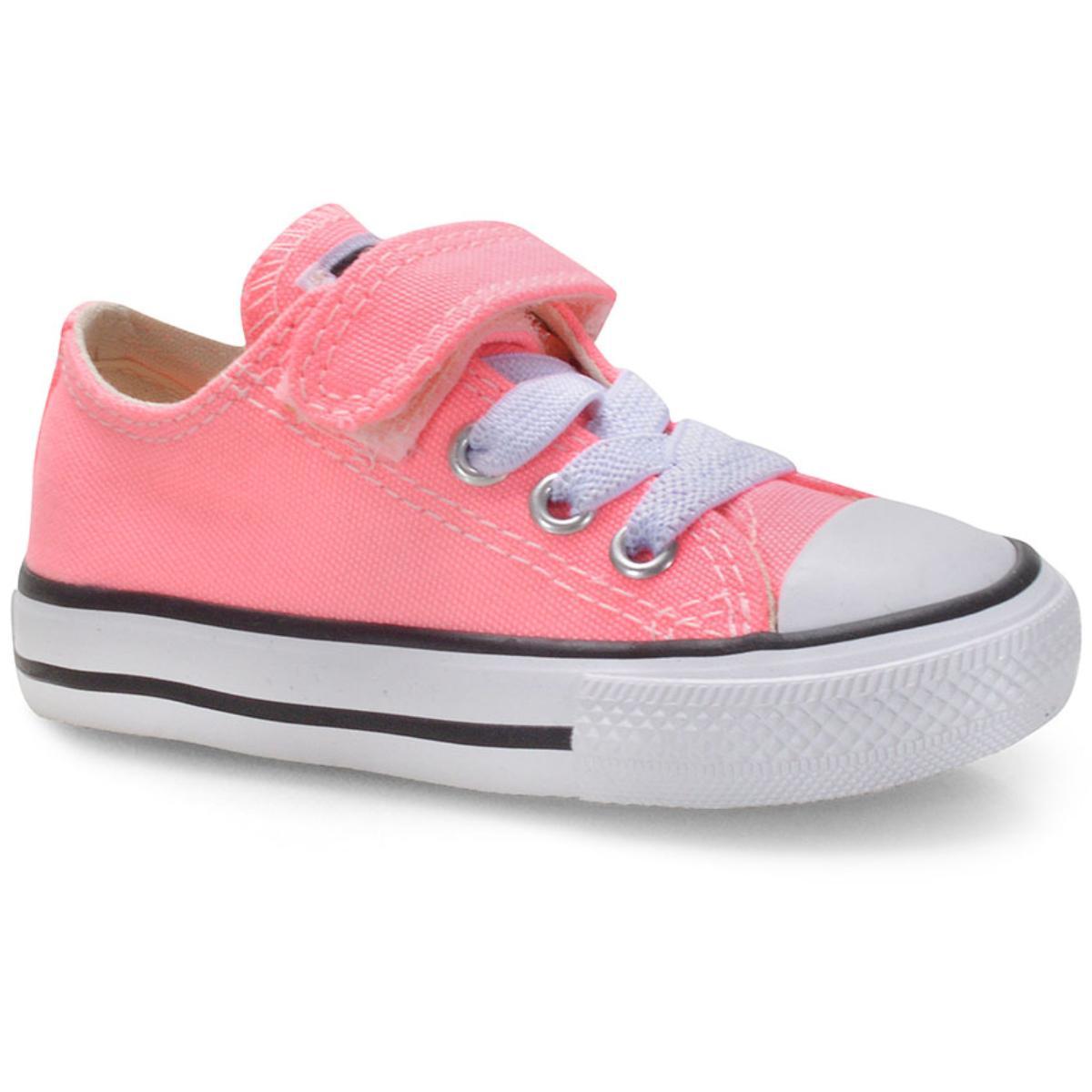 Tênis Fem Infantil All Star Ck08150001 Rosa Fluor/preto/branco
