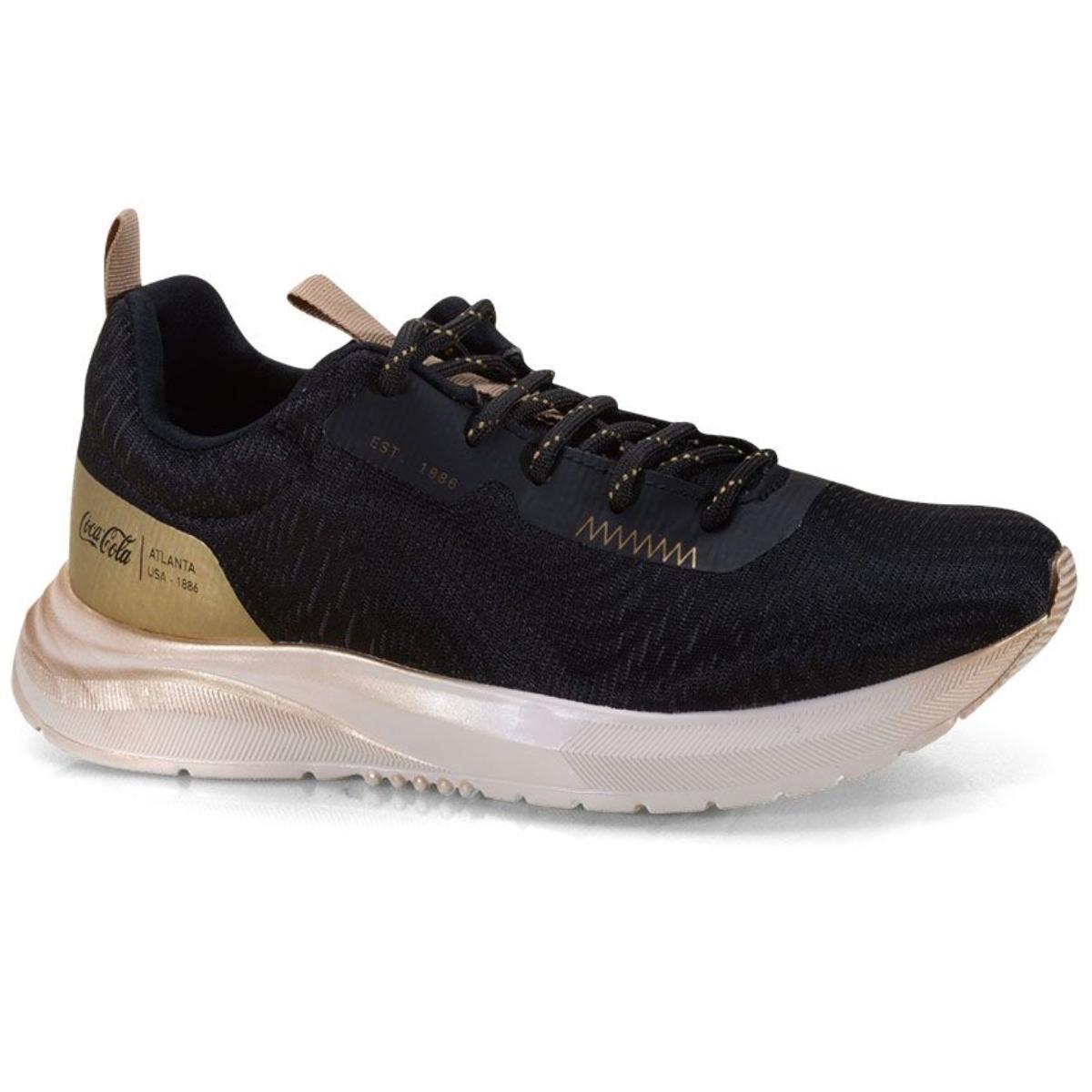 Tênis Feminino Coca-cola Shoes Cc1943 Preto/dourado
