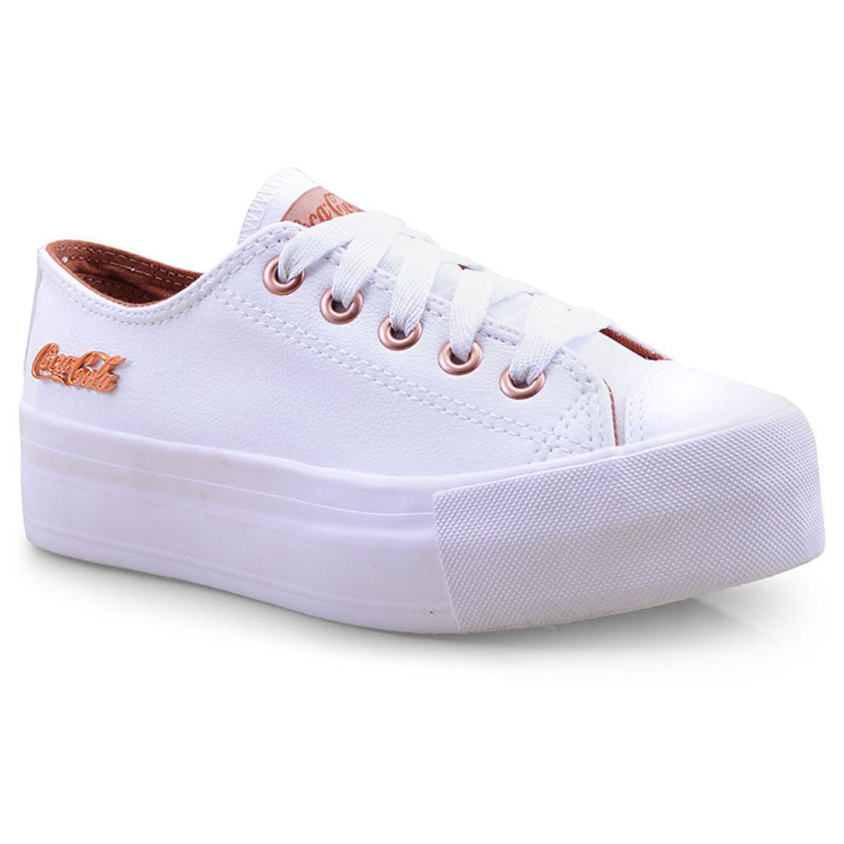 Tênis Feminino Coca-cola Shoes Cc1550 Branco/cobre