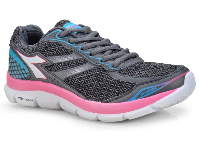 Tênis Feminino Diadora 125603 C9406  Grafite/rosa/azul