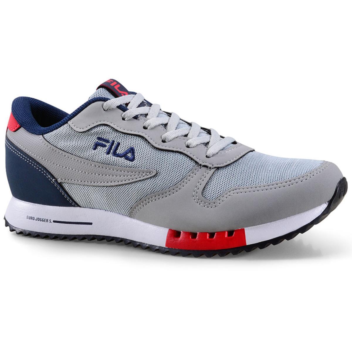 Tênis Masculino Fila 11u335x.3335 Euro Jogger Sport Cinza/marinho/vermelho