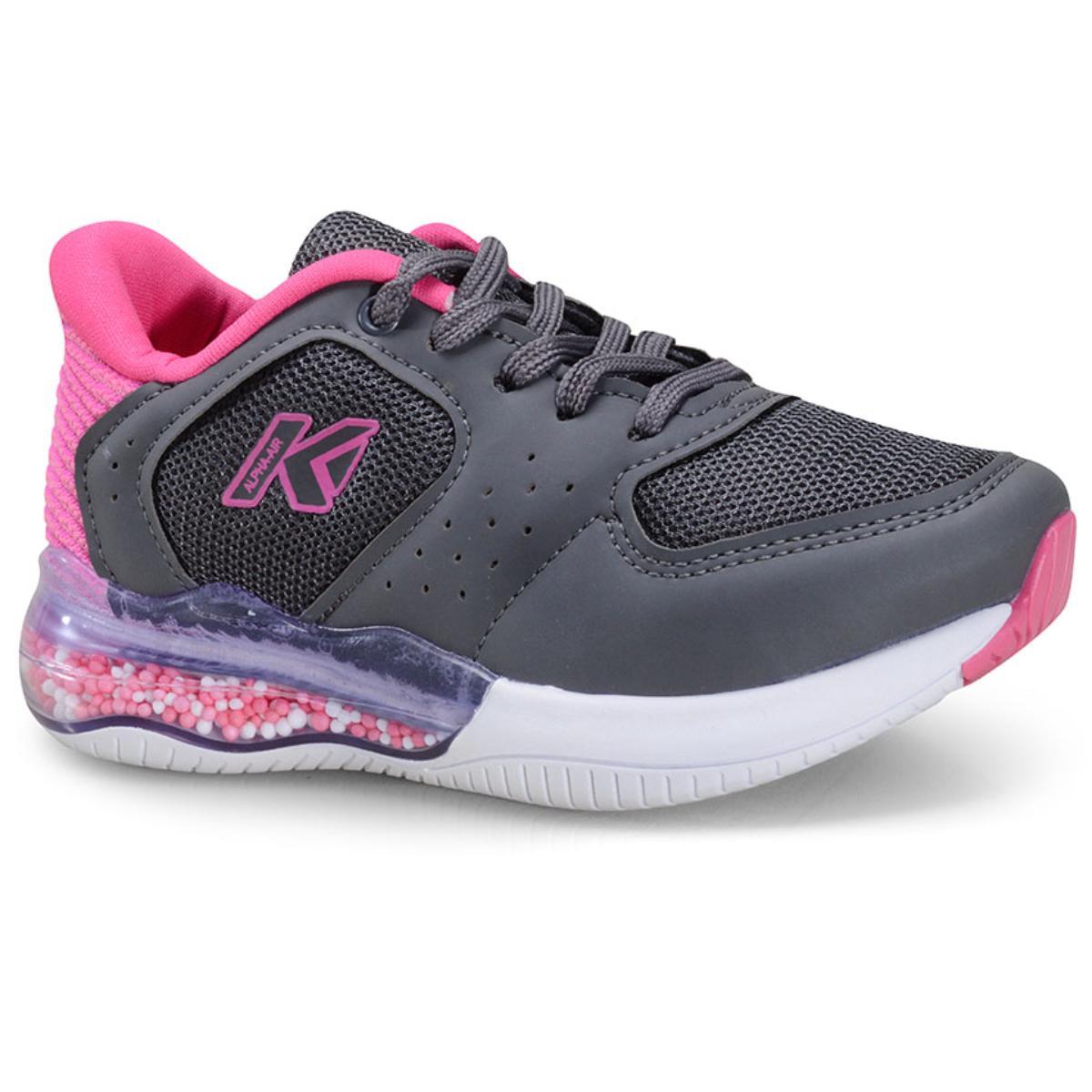 Tênis Fem Infantil Kidy 09110079826 Grafite/pink
