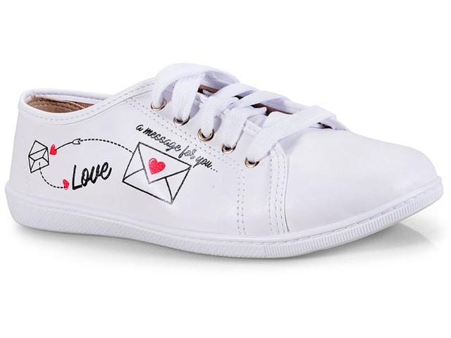 Tênis Feminino Moleca 5605223 Branco/preto/vermelho