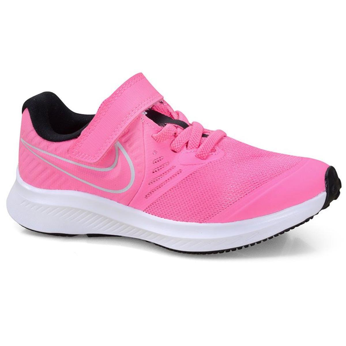 Tênis Fem Infantil Nike At1801-603 Star Runner 2  Pink/branco